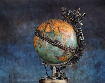 steampunk globe lamp the time machine