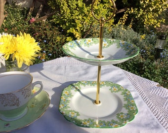 2 tier cake stand Melba floral design,  English bone china personal cake stand, great for a tea party