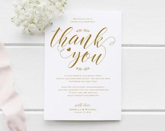 Gold Wedding Thank You Printable Template, Thank You Card Template, Printable Thank you, Thank You Template, Thanks Template, WPC_988