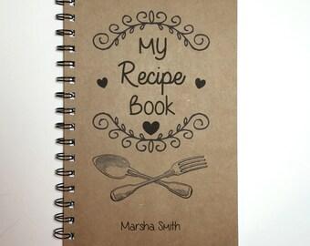 Recipe Book, My Recipe Book, Kitchen Book, Recipe Notebook, Personalized, Notebook, Recipe Holder, Gift, Fork and Spoon, Recipe
