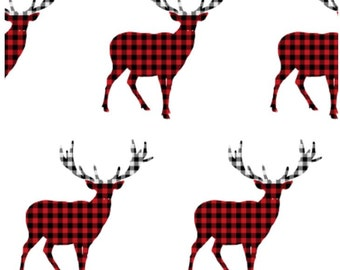 Black and Red Plaid Deer Nursery Bedding - Woodland Toddler Bedding - Deer Crib Bedding  - Plaid Nursery Bedding - Rustic Woodland Baby