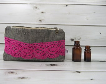 Essential Oil Case, Essential Oil Bag - AMANDA in Graphite - linen and lace, doily cosmetic bag zipper pouch essential oil storage, oils