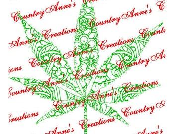 SVG PNG DXF Eps Ai Wpc fcm Cut file for Silhouette, Cricut, Pazzles - pot leaf zentangle marijuana svg