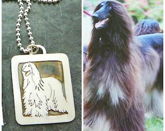 Pet Portrait Sterling Necklace, Dog Art, Afghan, Your Dog Pendant .. Solid Back, Full Body
