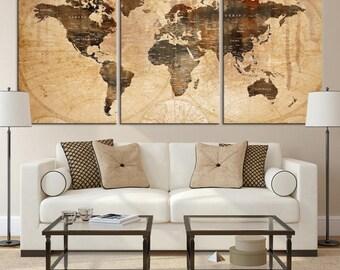 World Map Wall Art, World Map Canvas, World Map Print,  World Map Poster, World Map Art, World Map Push Pin