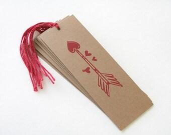Valentines Day Arrow tag Set 6 Handmade Wedding Wish Tree bridal shower Valentines bookmark