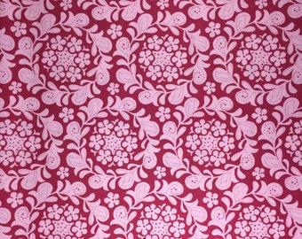 Meadowsweet Henna Garden raspberry Sandi Henderson fabric Fat Quarter or more oop htf