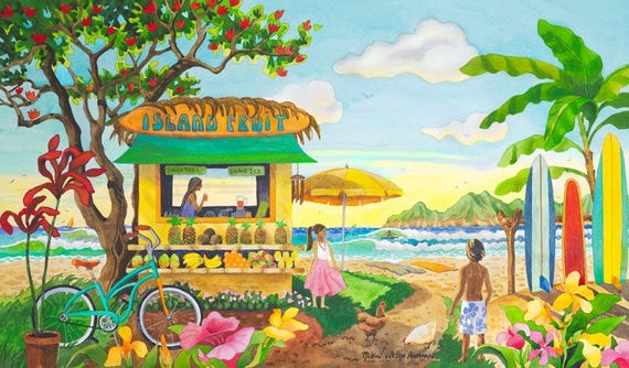 fruit stand, tropical fruit stand, surfboards, tropical beach art, palm Trees, beach cruiser bike painting, Hawaii, Bali, tropical