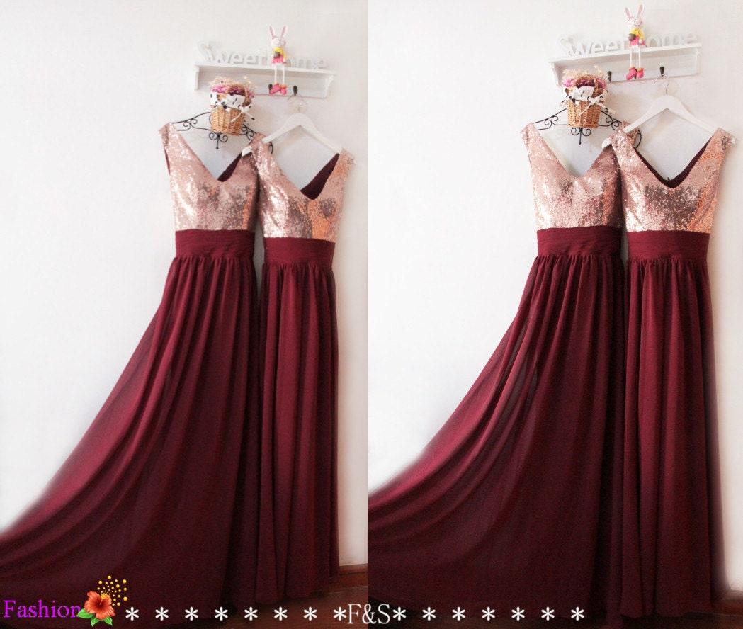 Bridesmaid dresses long 2016burgundy sequin bridesmaid zoom ombrellifo Choice Image