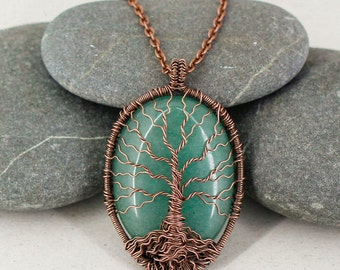 Tree of life pendant Family tree necklace Protection amulet Wire wrap pendant Tribal Copper Boho jewelry Mom daughter gift Mothers day gift