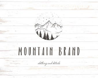 Mountain logo - HAND DRAWN rustic logo - Customizable - Logo design - For any business