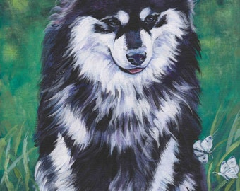 "FINNISH LAPPHUND dog portrait art canvas PRINT of LAShepard painting 8x10"""