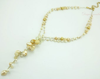 Yellow freshwater pearl necklace.