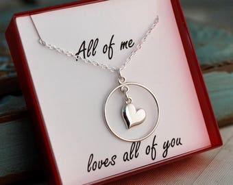 Anniversary Necklace / Sterling Silver Necklace / All of me loves all of you / Sterling Siler necklace with heart