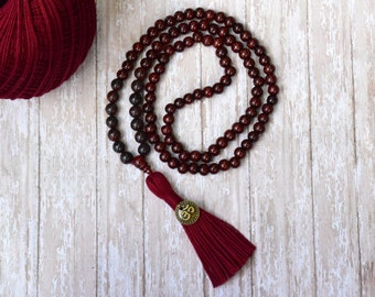Healing Stone, Grounding Negative Energy Protection Mala Necklace, Mala bead, Tassel Necklace, Dark Red Bloodstone Gemstone 108 Mala bead