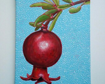 Pomegranate Painting, Still Life Painting, Original Acrylic Painting, 8x12 Inches Canvas, Small Fruit Painting, Kitchen Art, Mini Painting