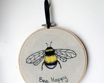 Bee embroidery, bumble bee gift. Wall hanging, spring