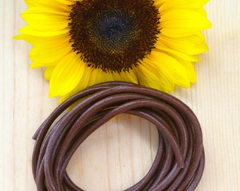 Dark Brown 5mm Round Leather Cord, 2+ feet straps / Organic Leather, Round Leather, Leather Jewelry, Thick Leather Cording, Jewelry Supplies
