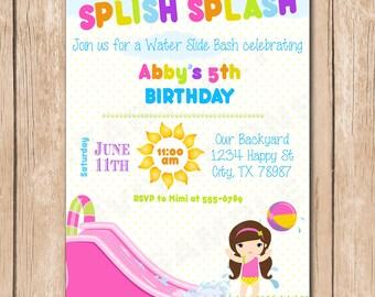Water Slide Birthday Bash Invitation | Splish Splash - 1.00 each printed