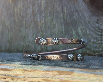 Copper Bangle Bracelet, Mixed Metal Bracelet, Copper Bracelet, Copper Jewelry, Luxe Casual Jewelry