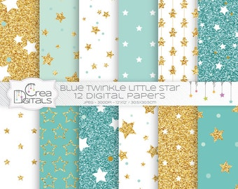 Mint and gold glitter twinkle little star 12 digital papers - INSTANT DOWNLOAD