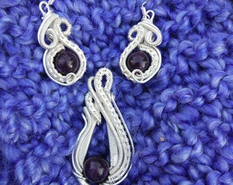 Sterling Silver Amethyst Earring and Pendant Set