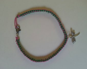 Pink and green dragonfly bracelet