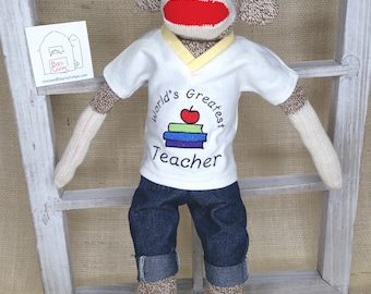 "Sock Monkey Teacher Gift - Teacher Appreciation Gift - Teacher Sock Monkey - Sock Monkey Doll - 18"" Rockford Sock Monkey"