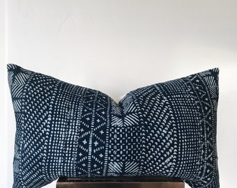 ENSENADA: 16x26 Vintage Indigo African Mud Cloth Lumbar Pillow Cover