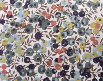 "Liberty print floral Pocket square in ""Wiltshire Berries "" ~ autumnal colours"