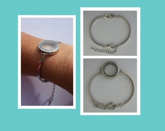 Banglette Cuff Locket Bracelet for SMALLER Wrists - Stainless Steel Chain ONLY for Glass Memory Lockets Watch Locket