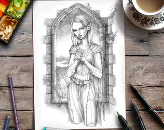Adult Coloring Page | Medieval Fantasy | Grayscale | Zan Von Zed