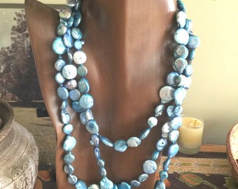 Pearls Dyed Light Turquoise 64 inch Strand