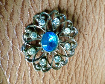 Dazzle - Antique Art Deco Brooch with Blue Stone