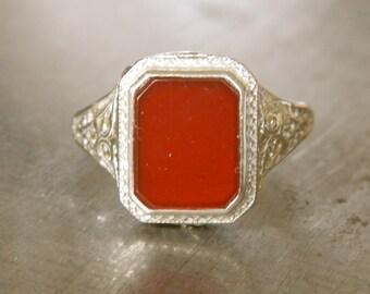 Art Deco Ring - Edwardian Ring - Vintage Carnelian Filigree Ring - Right Hand Ring - Orange Ring - Unique Engagement Ring - Wedding Ring
