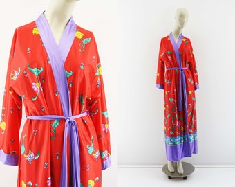 Lorraine Vintage Made in USA Stretchy Lightweight Polyester Red and Purple Floral Print Woman's Retro Robe