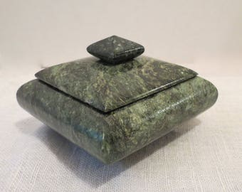 Green Marble Lidded Trinket Box