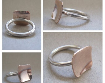 Sterling Silver with 9ct rose gold 12mm square top Stacking Ring - Made to Order