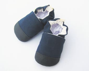 Organic Vegan Heavy Canvas Navy / non-slip soft sole baby shoes / made to order / babies toddlers preschool
