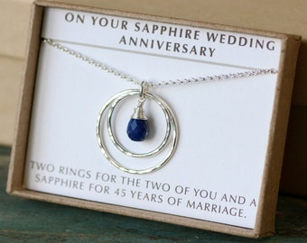45th anniversary gift, 45th wedding anniversary gift, sapphire wedding jewelry, wedding anniversary gift for her - Celeste
