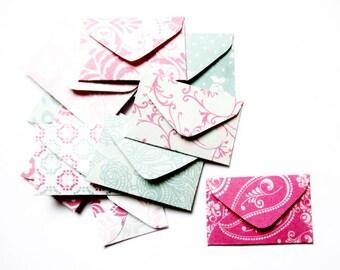lot 10 mini envelopes 4 x 2, 5cm patterns