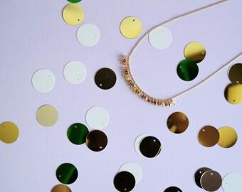 AUTUMN swarovski beads gold necklace