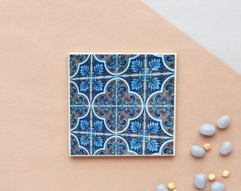 "Portugal Blue Azulejos Tile Inspired, Ceramic Tile Drink Coaster ""Ribeira"", Wedding Favor, Homemade gift"