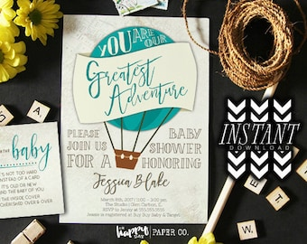 Greatest Adventure Template Hot Air Balloon Baby Shower Invitation • Instant Download PDF Template • Adventure Balloon Baby Shower Printable