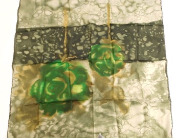 Hand painted natural silk scarf-silk scarf with green roses-artist's handkerchief