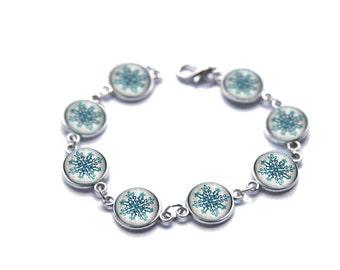 Vintage Snowflake bracelet, Christmas bracelet, Snowflake jewelry, Vintage bracelet, Christmas gift, Winter bracelet, winter jewelry, white