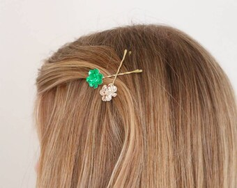 St. Patrick's Day- Shamrock Bobby Pins- Hair Accessories- Hair Pins- Hand Made- Clover