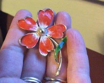 Vintage enamel orange  flower pin