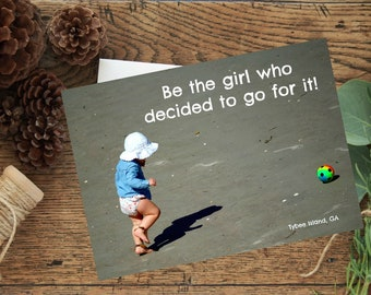 go for it, girl, photo card, little girls bedroom, wall decor
