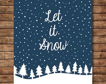 Christmas Art Prints - Let It Snow - Christmas Printable - Holiday Decor - Holiday Art - Winter Art - Christmas Print - Christmas Wall Decor